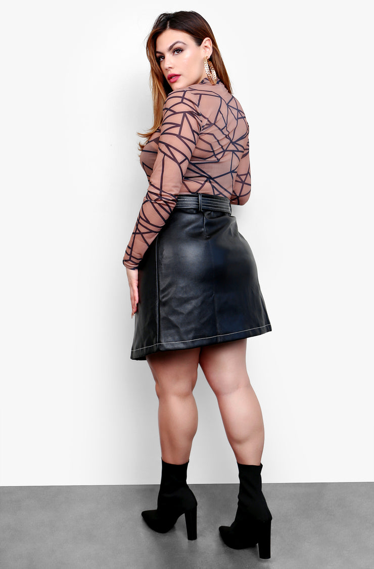 Black Faux Leather Belted Mini Skirt