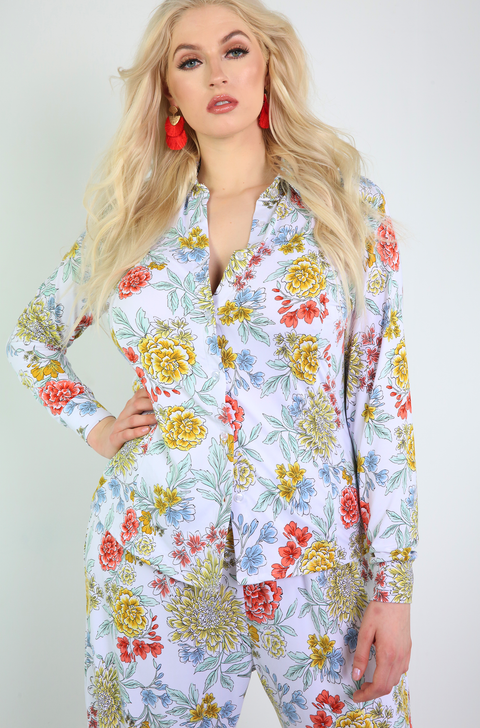 White Floral Button Down Top Plus Sizes