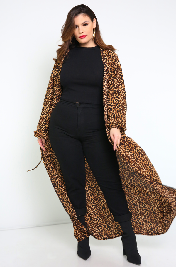 Brown Long Sleeve Duster Plus Sizes