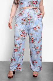 Blue Floral Crop Top & Wide Leg Pant Set Plus Sizes