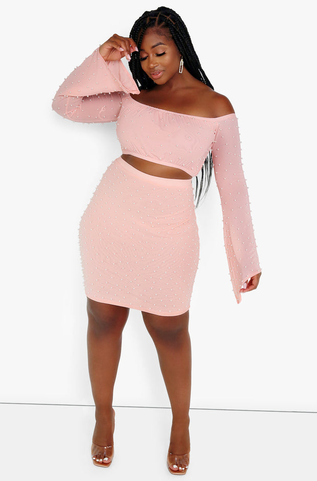 Light Pink Over The Shoulder Beaded Crop Top Plus Sizes