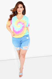 Pastel Tie Dye V-Neck Short Sleeve Top Plus Size