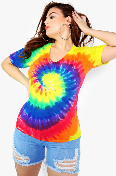 Rainbow Tie Dye V-Neck Short Sleeve Top Plus Size