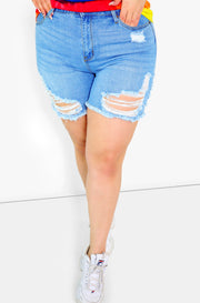 Blue Mid Rise Distressed Denim Shorts Plus Size