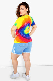 Neon Tie Dye V-Neck Short Sleeve Top Plus Sizes
