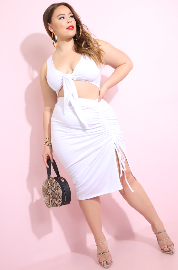 White Ruched Midi Skirt Plus Sizes