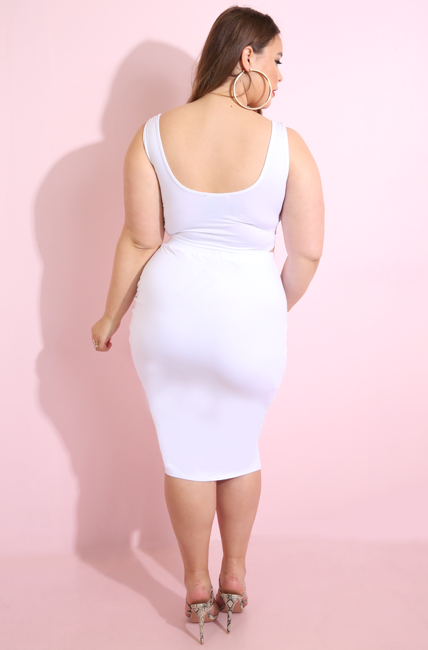 White  Front Tied Crop Top Plus Sizes