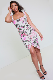 White Floral Asymmetrical Dress Plus Sizes
