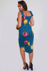 Navy Blue  Floral Asymmetrical Dress Plus Sizes