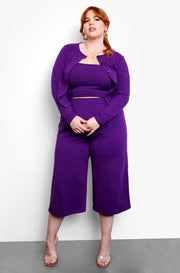 Purple High Waist Culottes Plus Sizes
