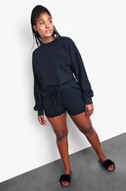 Black Cozy Drawstring Shorts Plus Sizes
