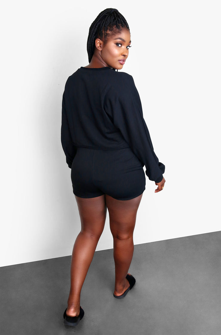 Black Cozy Oversized Plus Size Long Sleeve Top