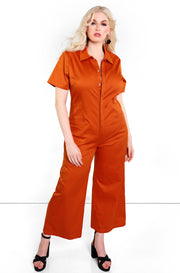 Rust Red Button Down Cropped Utility Jumpsuit Plus sizes