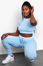 Light Blue Ribbed Joggers Plus Sizes