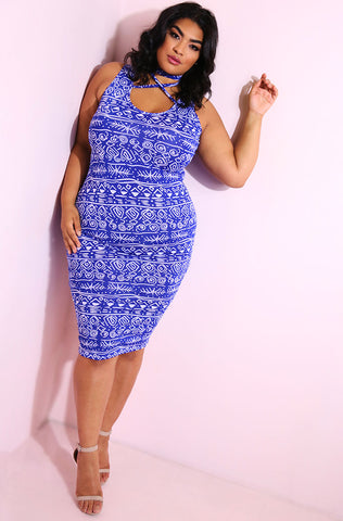 "Rebdolls ""Perception"" Printed Midi Dress"