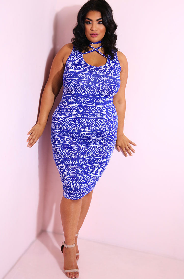 Blue Neck Tie Bodycon Midi Dress plus sizes