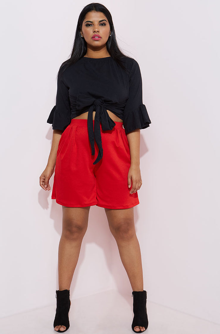Red Pleated Short Pants With Pockets Plus Sizes