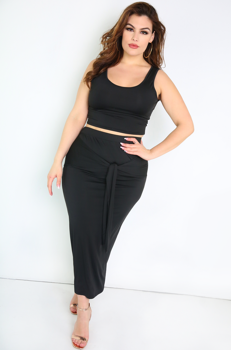Black Front Tie Maxi Skirt Plus Size