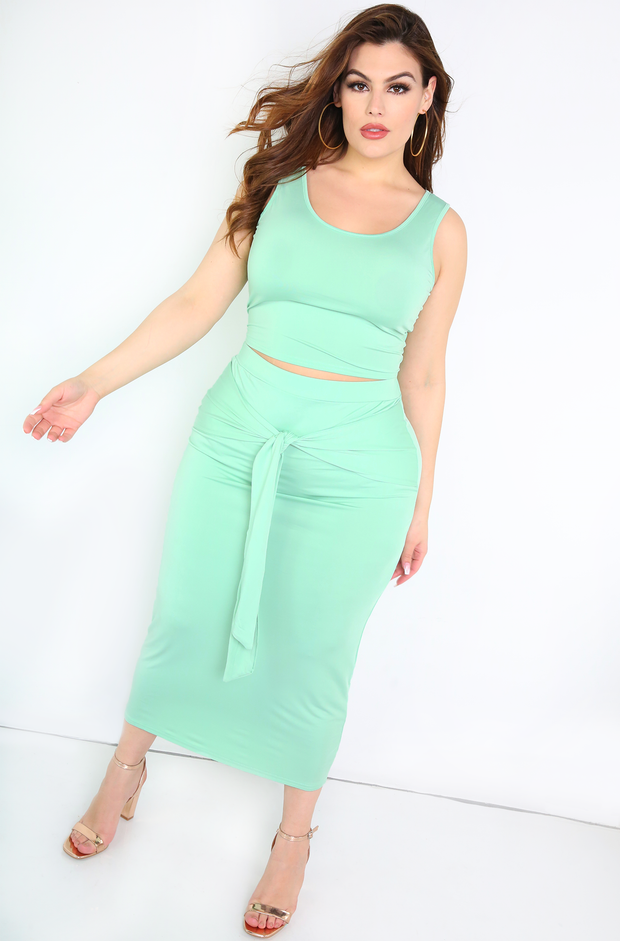 Green Front Tie Maxi Skirt Plus Size