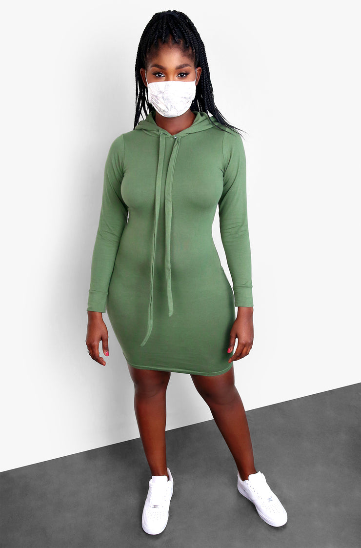 Olive Hooded Mini Dress Plus Sizes