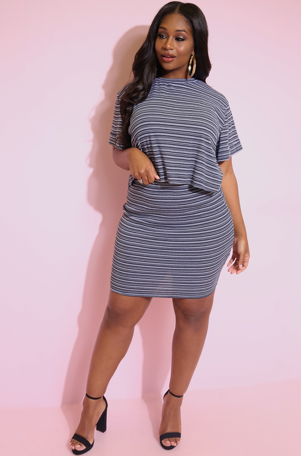 Black Striped Bodycon Mini Skirt plus sizes