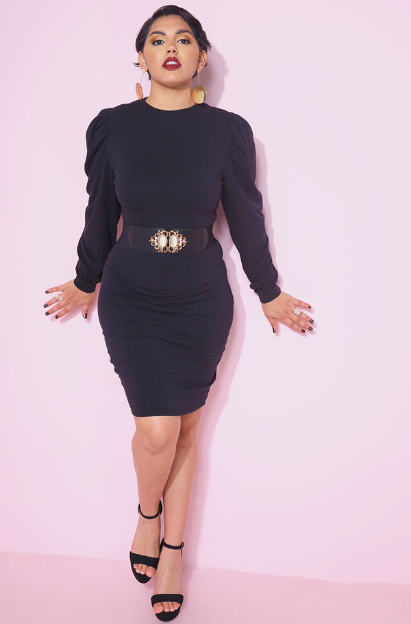Black Puff Sleeve Bodycon Mini Dress Plus Sizes