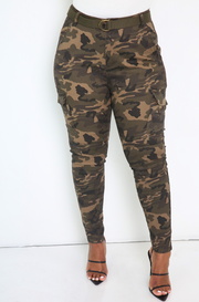Olive Camo High Waist Cargo Pant Plus Sizes