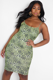 Green Leopard Print Bodycon Midi Dress Plus Sizes