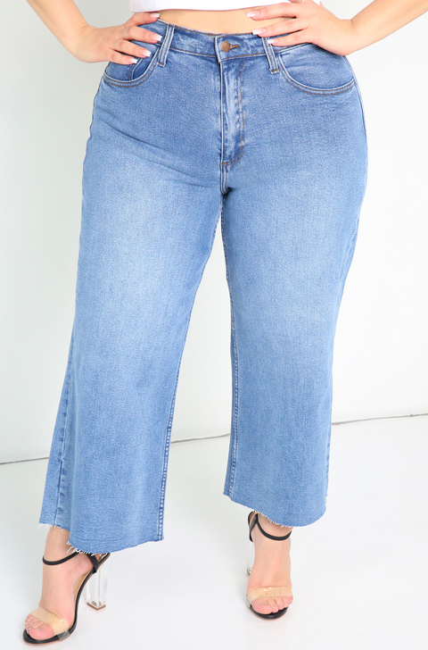 Blue Cropped Wide Leg Jeans Plus Sizes