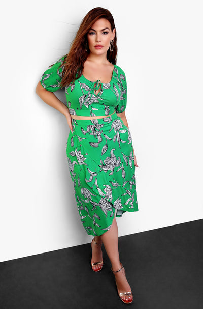 Green Ruffled Wrap Midi Skirt Plus Sizes