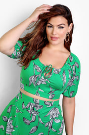 Green Puff Sleeve Crop Top with Key Hole Plus Sizes