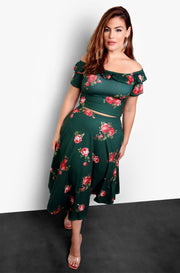 Pine Green Floral Over The Shoulder Crop Top Plus Sizes