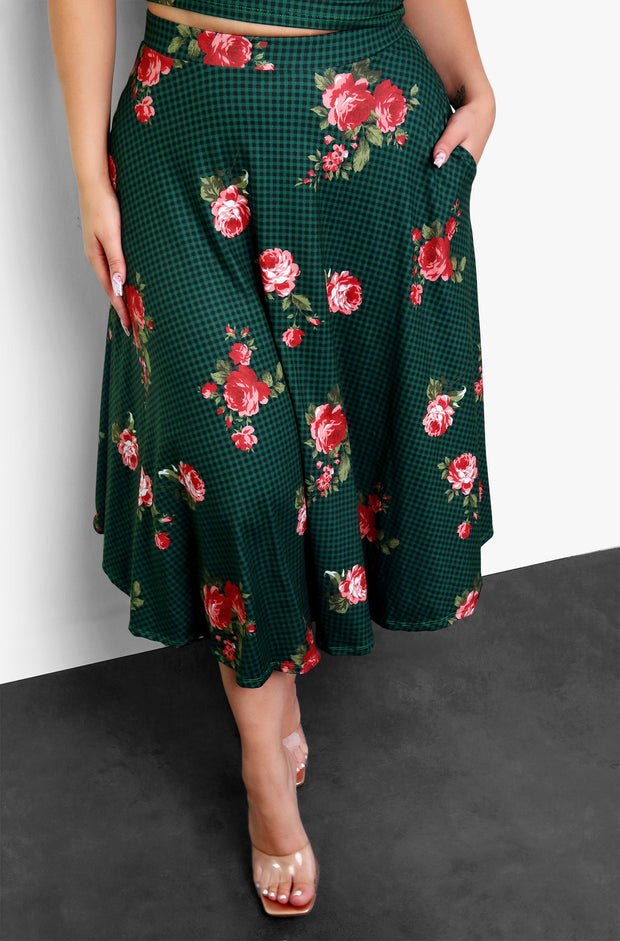 Pine Green Floral Midi Skater Skirt W. Pockets Plus Sizes