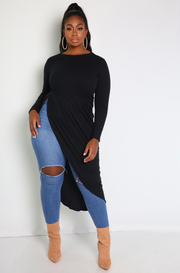 "Rebdolls ""Storm"" Long Sleeve Side Slit Maxi Top"