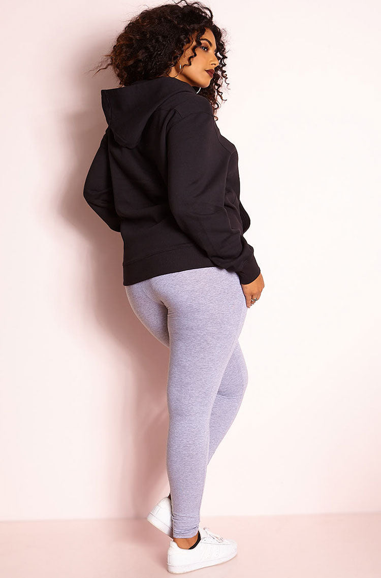 Black Lace Up Hoodie plus sizes