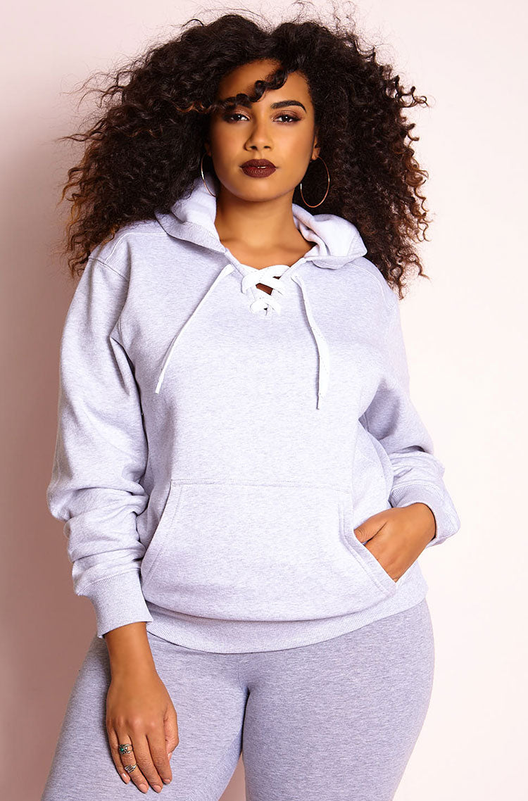 Ash Gray Lace Up Hoodie plus sizes