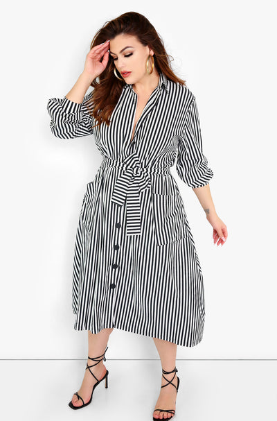 Black Button Down A-Line Striped Dress Plus Size