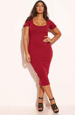 9bf898328255 Burgundy Essential Short Sleeve Scoop Neck Bodycon Midi Dress plus sizes