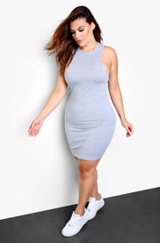 Grey Essential X-Neck  Bodycon Mini Dress Plus Sizes
