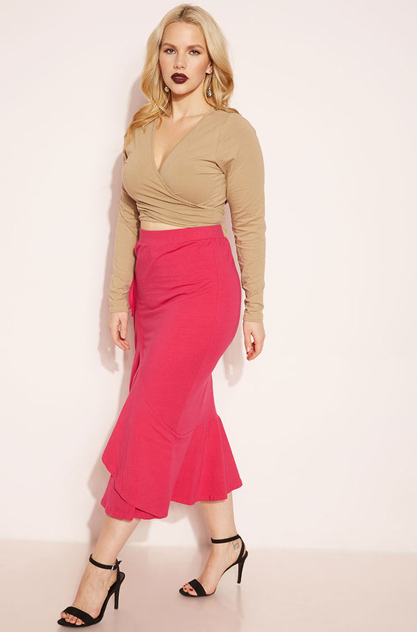 Fuchsia Ruffled Skater Midi Skirt Plus Sizes