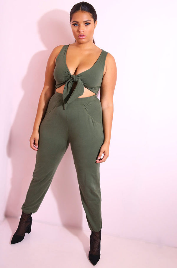 Olive Front Tie Jumpsuit plus sizes