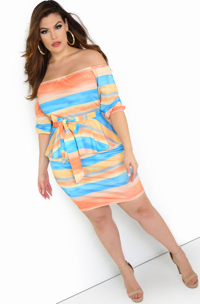 Peach Peplum Mini Dress Plus Size