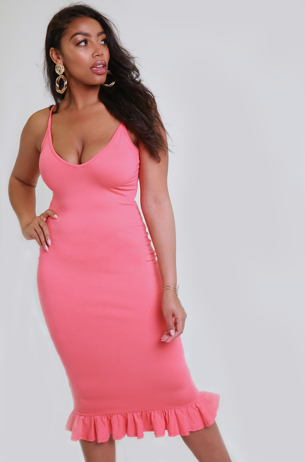 Coral Ruffled Hem Midi Dress Plus Sizes