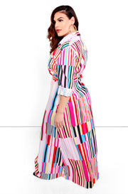 Pink Striped Button Down Maxi Dress Plus Sizes