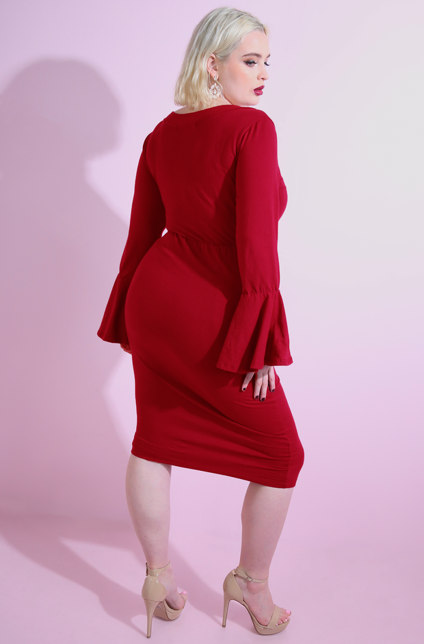 Red Bell Sleeve Bodycon Midi Dress Plus Sizes