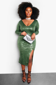 Green Plus Size Sequin Long Sleeve Bodycon Midi Dress