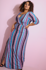 Blue High Slit Maxi Dress Plus Sizes