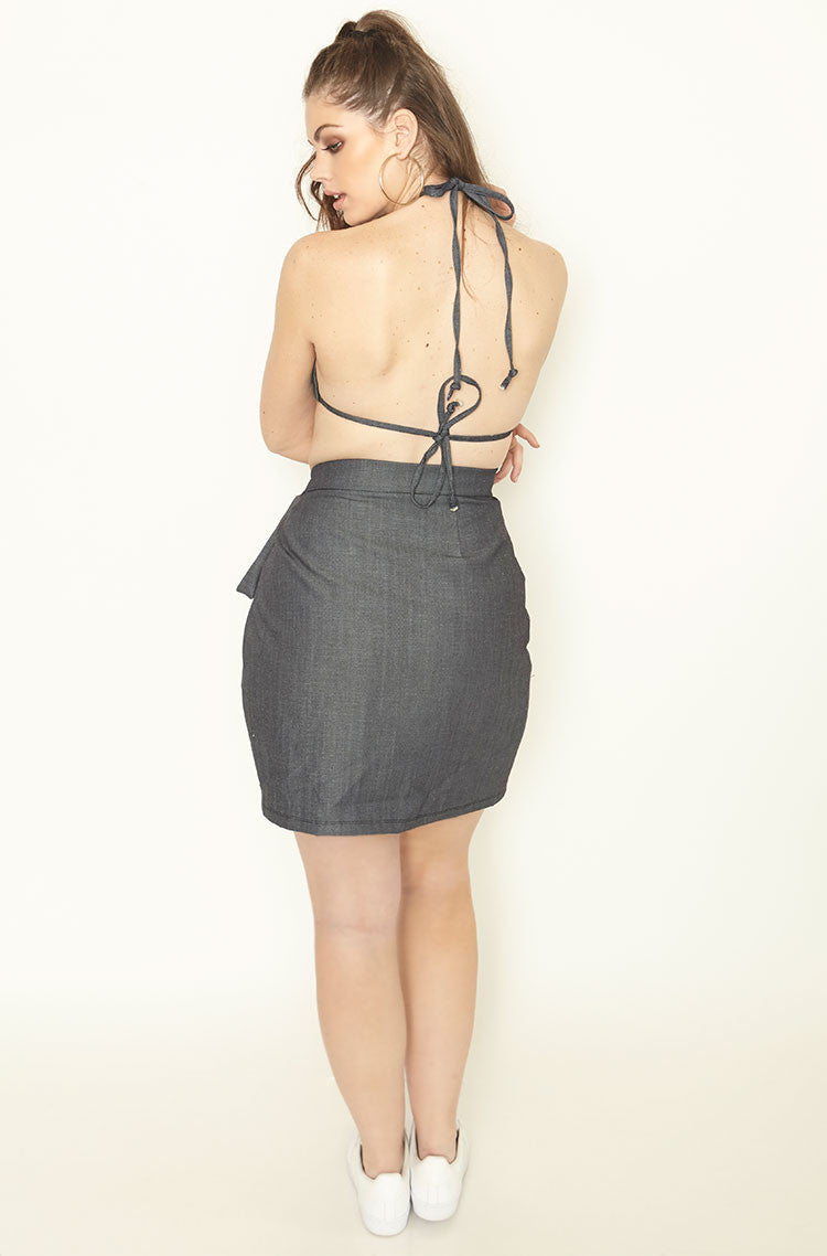 Blue Denim Wrap Bodycon Mini Skirt Plus Sizes