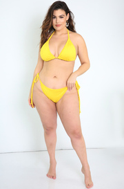 Yellow Tie Bikini Swimsuit Bottom Plus Sizes