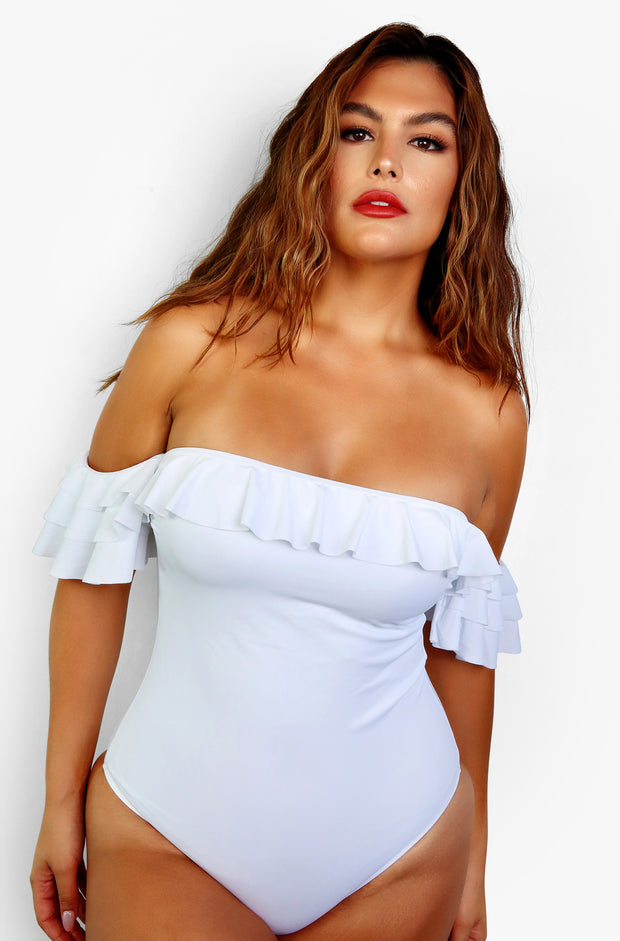 White Ruffled Over The Shoulder One Piece Plus Sizes
